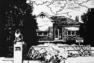 """""""AT THE CLOSE OF THE DAY-1"""" - Linocut. 45cmWx30cmH"""