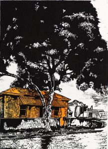 """""""AT THE CLOSE OF THE DAY-2"""" - Linocut 2 colour. 32cmWx45cmH"""