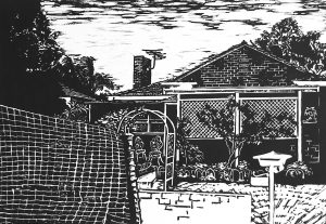 """""""AT THE CLOSE OF THE DAY-3"""" - Linocut. 45cmWx31cmH"""