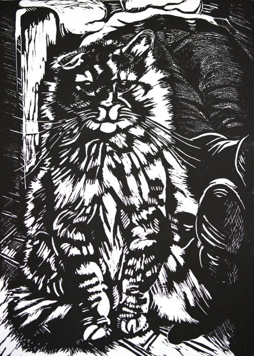 """ROGERS THE CAT"" - Linocut. 21.5cmWx30cmH"